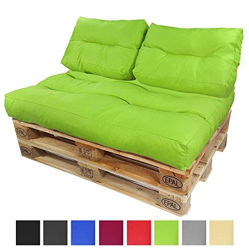 DILUMA Coussins pour Canape Euro Palette Lounge - Créez Un élégant Sofa en Palette résistante aux éclaboussures (Pas Un Ensemble!), Couleur:Vert, Variable:2 Coussins de Dossier 60 x 40 cm
