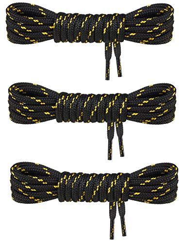 Swissly 3 Paar Schuhbänder rund ø 4,5 mm I Premium Schnürsenkel extra reißfest & widerstandsfähig für Wanderschuhe Bergschuhe Kletterschuhe Arbeitsschuhe Stiefel uvm I Polyester Shoe-Laces