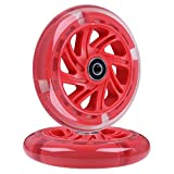 AOWISH 120mm Light Up Scooter Wheels Pair 120 mm LED Flash Flashing 3-Wheel Scooter Front Replacement Wheel with Bearings ABEC-9 for Micro Kickboard Maxi Foldable Deluxe Kick Scooters (Red)