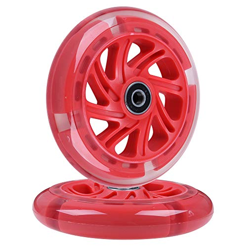 AOWISH 120mm Light-up Scooter Wheels Pair 120 mm LED Flash Flashing 3-Wheeled Kick Scooter Front Replacement Wheel with Bearings ABEC-9 for Kids...