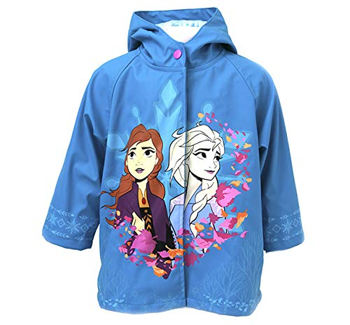 Western Chief Girls' Frozen 2 Rain Jacket with Anna and Elsa, Turquoise, 5