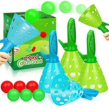 Duckura Outdoor Indoor Game Activities for Kids Pop-Pass-Catch Ball Game with 4 Catch Launcher Baskets and 6 Balls Beach Birthday Party Favors Gifts Sports Toys for Kids Age 5 6 7 8 9 10+ and Adults