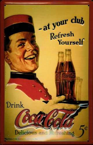 Letrero de Metal con diseño de Coca Cola at Your Club Boy Nostalgic 3D en Relieve y abovedado, 7.87 Pulgadas x 11.81 Pulgadas x 0.59 Pulgadas