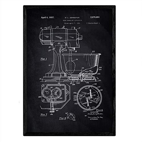 Nacnic Poster con patente de Batidora industrial. Lámina con diseño de patente antigua en tamaño A3 y con fondo negro