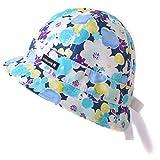 CasualBox ベビー UVカット 綿 ハット [ 48cm / ブルー ] フラワー リボン 帽子 日本製 新生児~1歳