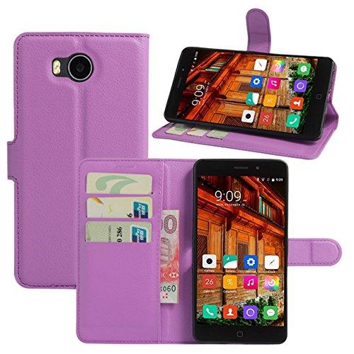 HualuBro Funda Elephone P9000 Lite, [Protección Todo Alrededor] Premium PU Cuero Leather Billetera Wallet Carcasa Case Flip Cover para Elephone P9000 Lite Smartphone (Morado)