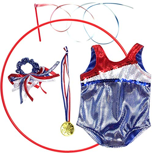 Doll Clothes Gymnastic Outfit for 18 Inch Dolls 5 Pc. Set Fits American Dolls & More! Red, White & Blue Gymnastic Leotard, Medal, Hair Piece, & Two Rhythmic Gymnastic Accessories by Sophia's | Doll Sold Separately