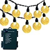 Battery Operated Globe String Lights - Waterproof Indoor Outdoor String Lights 30 LED Crystal Globe Lights Patio Lights with Timer & 8 Modes for Indoor Outdoor Patio Lawn Gazebo Decor, Warm White