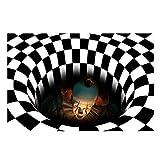 Wendysy Halloween Area Rug, 3D Vortex Optical Illusion Rug Round Carpet Clown Doormat for Lvining Bedroom, Black White Plaid Round Rugs 3D Visual Optical Floor Mat