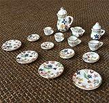 Egurs 15 pcs/Set Ensemble de thé en céramique Miniature avec soucoupes et Tasses à thé pour la décoration de Vaisselle de Maison de poupée Fleur colorée