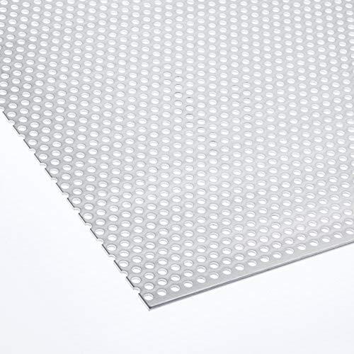 Lochblech Edelstahl QG 10-15 beidseitig geschliffen/Alu RV 5-8 / Stahl Verzinkt QG 10-15 / Stahl Verzinkt RV 5-8 - 1,5mm dick Zuschnitt individuell auf Ma§ NEU (1000 mm x 550 mm, Alu RV 5-8)