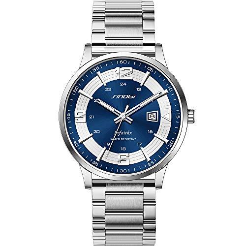 Clásico Adj Impermeable Reloj De Cuarzo Deportivo para Hombre con Diseño De Acero Inoxidable y Personalidad De con Pulsera De Malla (Blue-Number-Mesh)
