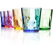 Premium Quality Coloured 400ml Drinking Glasses - Set of 6 Cups - Unbreakable Tritan Plastic - BPA Free - Made in Japan - Stackable and Dishwasher-Safe