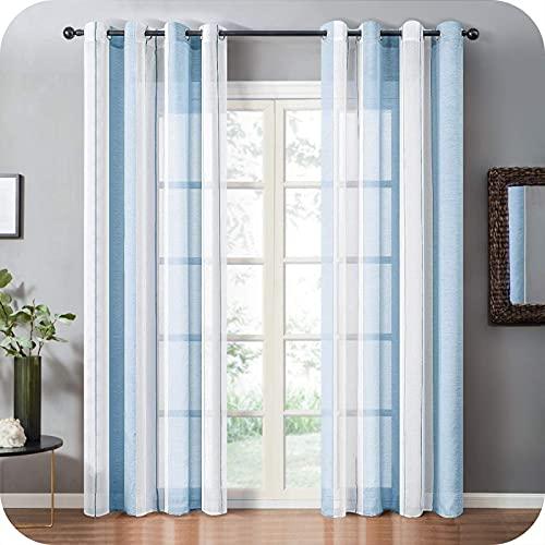 Topfinel Cortinas Translúcidas Rayas Moderna Dormitorio Cocina Infantiles Visillos Paneles con Ojales para Ventanas Salón Habitacion 140x240cm 2 Unidades, Azul