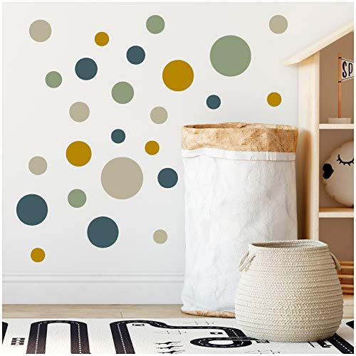 yabaduu 100 Klebepunkte Kreise Punkte Wandtattoo Kinderzimmer Schlafzimmer Babyzimmer Aufkleber Folie Deko Selbstklebend für Junge Mädchen Pastell (Y035-3 Blau-Grün-Senf-Beige)