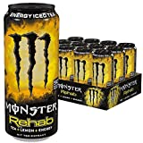 Monster Energy Rehab Lemonade mit Tee Extrakten & Zitronen-Geschmack - ohne Kohlensäure, 2in1 Energie Getränk & Eistee!, Energy Drink Palette, EINWEG Dose (12 x 500 ml)