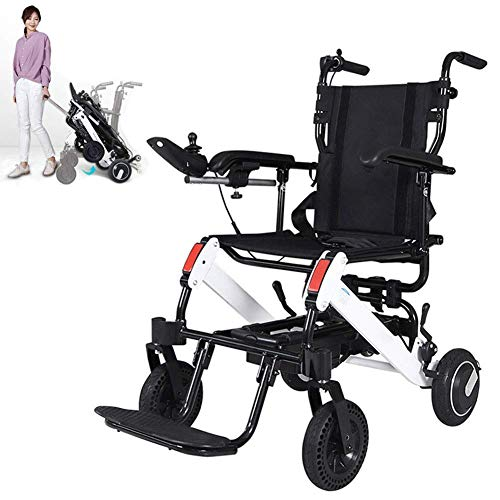YEDENGPAO Elektro-Rollstuhl Folding Leichte, Tragbarer Elektrorollstuhl, Aluminiumlegierung Leichte Reise Rollstuhl, Antrieb Mit Elektrischer Energie Oder Zur Verwendung
