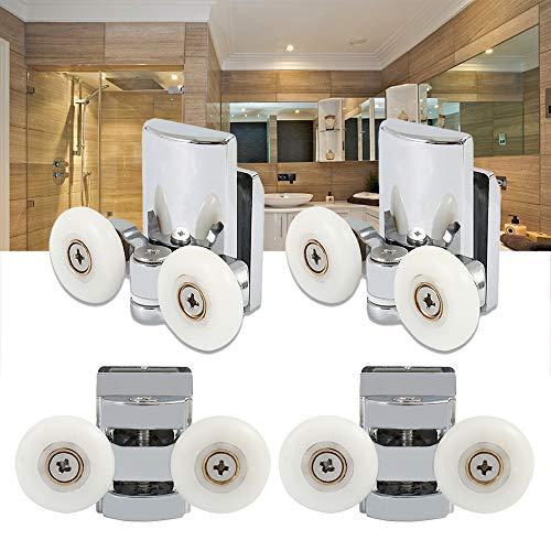 Juego de 4 ruedas para puerta de ducha de 23 mm, rueda doble puerta de ducha corredera, de aleación de zinc, para cabina de ducha o cuarto de baño