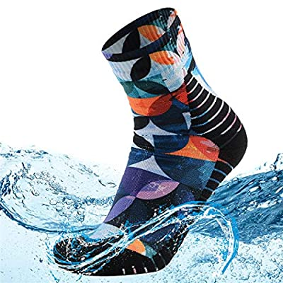 MEIKAN Waterproof Hiking Socks for Women, Rain Gear Lightweight Warm Breathable Moisture Control Camping Socks Winter Snow Skiing Socks Golf Cycling Outdoor Work Socks, 1 Pair (Multicolor, Small)