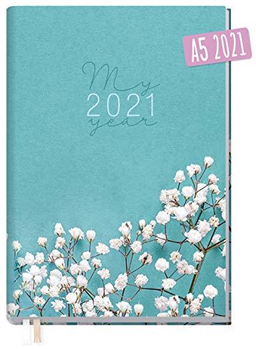 Chäff-Timer Classic A5 Kalender 2021 [Weiße Blüten] mit 1 Woche auf 2 Seiten   Terminplaner, Wochenkalender, Organizer, Terminkalender mit Wochenplaner   nachhaltig & klimaneutral