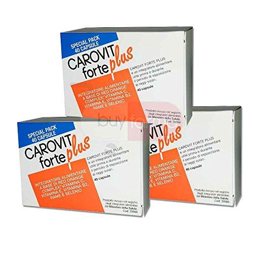 3X CAROVIT FORTE PLUS - Integratore Alimentare utile per la preparazione all'esposizione solare - 120 CAPSULE PER OLTRE 3 MESI DI TRATTAMENTO
