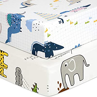 """TILLYOU Luxury Softer Thicker Crib Sheets Set, 100% Egyptian Cotton Printed Toddler Sheets for Baby Boys Girls, Breathable Cozy Durable, 28""""x52"""", 2 Pack Dinosaur (White) & Animals Party (White)"""