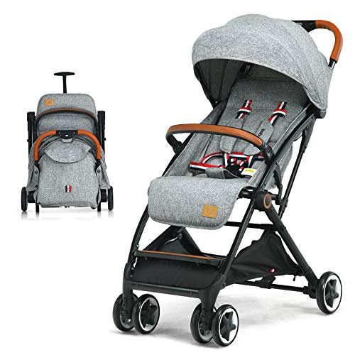 COSTWAY Lightweight Baby Stroller, One-Hand Foldable Infant Pushchair with 5-Point Harness, Adjustable Backrest/Footrest/Canopy, Compact Travel Buggy for 0-3 Years (Grey)
