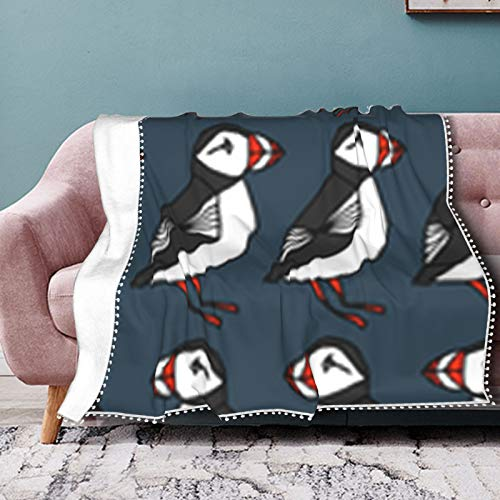 Rcivdkem Puffins Dark Navy Blue Pompom Fringe Blanket Soft and Warm Sofa Bed Throws Blanket