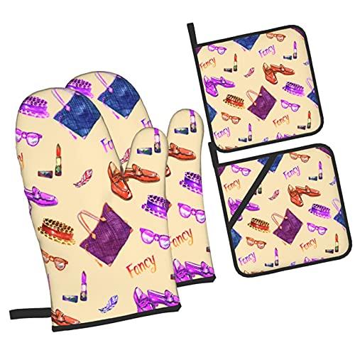 Bolsa Tote Cheetah Corona Manchada Sombrero Gafas De Sol Pluma Láp,4Pcs Guantes de Cocina y Juegos de Soportes para Macetas,con Caliente Almohadillas para Cocinar,Hornear,Asar a la Parrilla Guantes