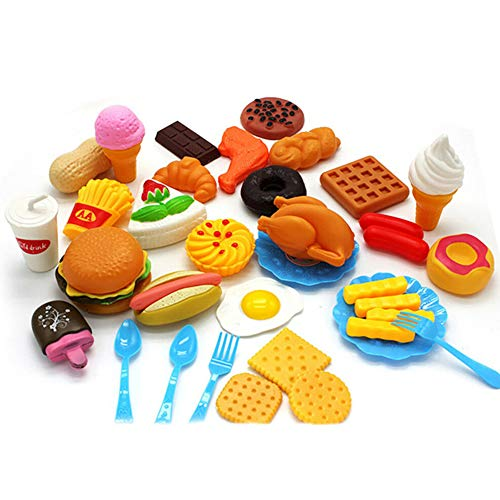 Glomixs 34pcs Fun Play Food Set for Kids Kitchen Cooking Kid Toy Lot Pretend Children,Material: Plastic, Size: 22x17x26cm