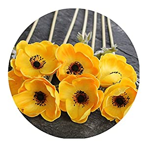 Real Touch Artificial Anemone Flowers Silk Flores Artificiales for Wedding Holding Fake Flowers Home Garden Decorative Wreath,Yellow