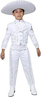 Big Boys White Silver Embroidered Mariachi Pants Jacket Hat Set 10-20