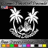 "Raft Girl & Palms V3 ""Ocean Devotion®"" Vinyl Decal / Sticker 5h x 6w Inches - Keywords... Sea Life, Surf, Surfing, Fishing, Salt Life, Reel Life, Beach Life, Automobile, Car, Truck, Boat, Window"