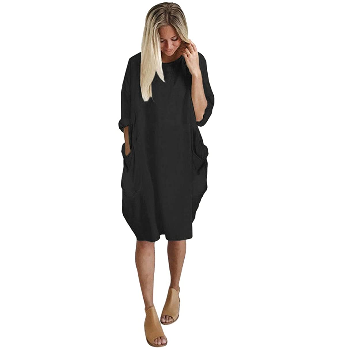 Toimothcn Womens Loose Solid Pocket Dress Casual Crew Neck Long Tops Dress Plus Size