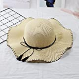 B/H Sombreros de Paja de Hechos a Mano Mujer Verano Proteccion Solar,Sombra Moda Ocio Piscina Playa Salvaje Paja Sombrero-Beige,La Playa de la Paja del Borde Grande Ancho Cap