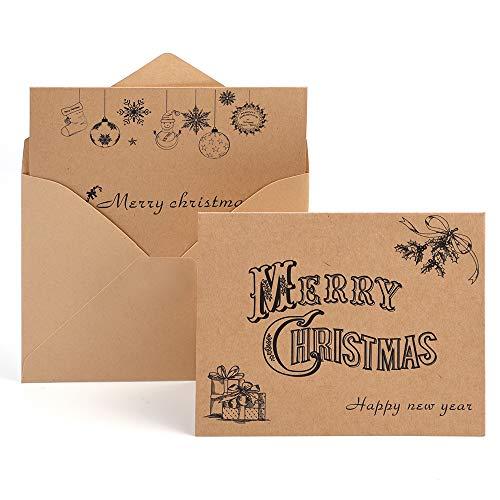 Kuuqa Auguri Natalizio Carte Buon Natale Auguri Biglietti con Buste e Adesivi (36 Pacco)