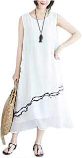 Santwo Women Summer Casual Sleeveless Crew Neck Layered Silk Holiday Beach Dress