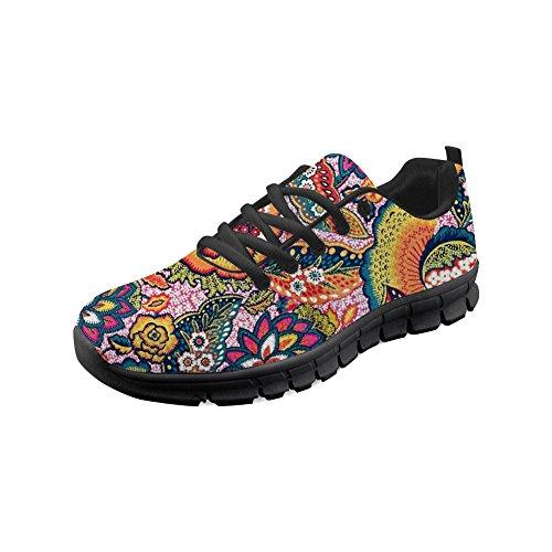 HUGS IDEA Frauen Sport Laufschuhe Afrikanische Ethnische Blumenmuster Böhmen Leichte Atmungsaktive Sportschuhe-Größe: EU 36