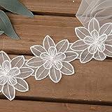 lijun 1 Yarda de Flores Bordadas Cinta de Ajuste de Encaje Blanco DIY Aplique de Cuentas de Perlas de imitación