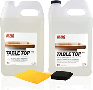 Crystal Clear Epoxy Resin Two Gallon Kit | MAS Table Top Pro Epoxy Resin & Hardener | Two Part Kit for Wood Tabletop, Bar ...