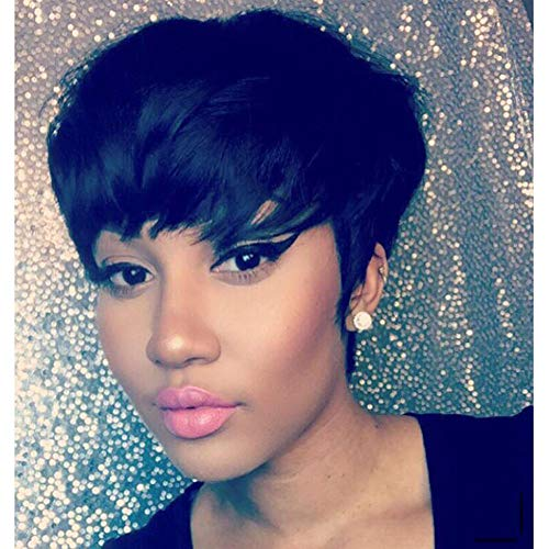 100% Human Hair Short Pixie Wigs for Black Women Short...