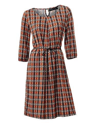 Patrizia Dini Damen Designer-Kleid, Orange-Bunt, Größe:46