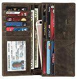 Mou Meraki Mens Vintage Genuine Leather RFID Blocking Long Wallet Bifold Wallets For Men (MUD BROWN)