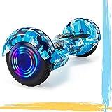 """HappyBoard 8"""" Hoverboard Patinetes Eléctricos Autoburación Motor 700W Bluetooth para Niños y Adultos (Azul Camuflaje)"""
