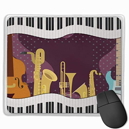 Muismat, Desk Mousepad, Opera Cartoon Muziekinstrumenten met Piano Gitaar Saxofoon Viool PrintDark Mauve Multi kleuren