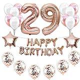 Haosell 29 Décorations d'anniversaire pour fille - Or rose - 29 ans - 29 ans - Décoration d'anniversaire - Or rose - Ballons en aluminium - Chiffre 29 - Or rose