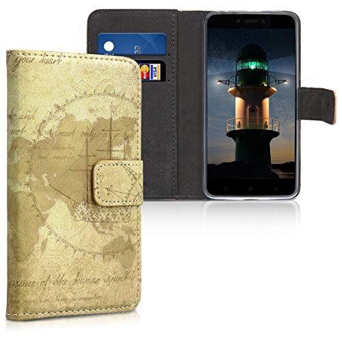 kwmobile Xiaomi Redmi 4A Hülle - Kunstleder Wallet Case für Xiaomi Redmi 4A mit Kartenfächern & Stand - Travel Vintage Design Braun Hellbraun