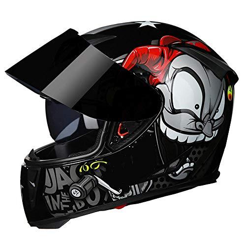 petit un compact Casque Moto Casque Type Ouvert Casque Motocross Modulable Double Soleil Clown Gris…