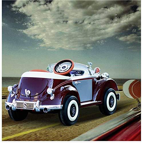 HBIAO Elektrische Mitfahrgelegenheiten für Kinder, Allradfernbedienung Männliches und weibliches Baby 1-7 Jahre altes Kinderspielzeugauto kann im Oldtimer-Kinderwagen sitzen,Rot