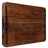 Large Wood Cutting Board Walnut 18x12 Inch Reversible with Handles and Juice Groove Extra Thick Butcher Block Chopping Board Carving Cheese Charcuterie Serving Handmade